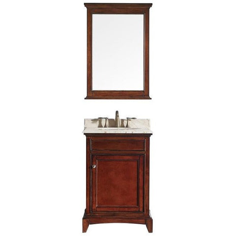"Eviva Elite Stamford® 24"" Brown Solid Wood Bathroom Vanity Set - EVVN709-24TK - Bath Vanity Plus"