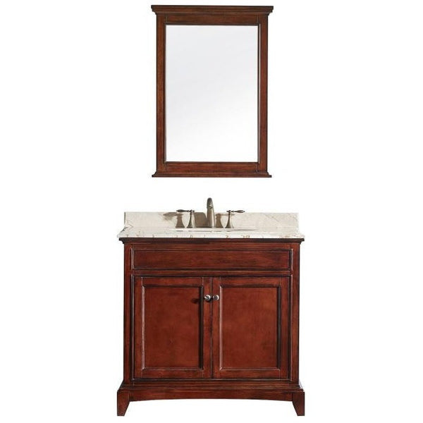 "Eviva Elite Stamford® 36"" Brown Solid Wood Bathroom Vanity Set - EVVN709-36TK - Bath Vanity Plus"
