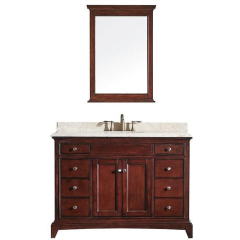 "Eviva Elite Stamford® 48"" Brown Solid Wood Single Bathroom Vanity Set - EVVN709-48TK - Bath Vanity Plus"