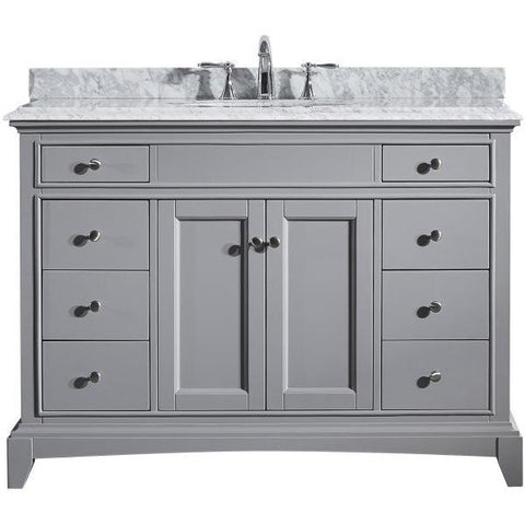 "Eviva Elite Stamford® 48"" Gray Solid Wood Single Bathroom Vanity Set - EVVN709-48GR - Bath Vanity Plus"