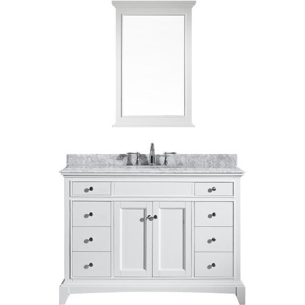 "Eviva Elite Stamford® 48"" White Solid Wood Single Bathroom Vanity Set - EVVN709-48WH - Bath Vanity Plus"