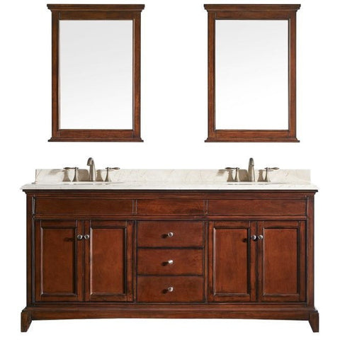 "Eviva Elite Stamford® 60"" Brown Solid Wood Double Bathroom Vanity Set - EVVN709-60TK - Bath Vanity Plus"