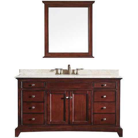 "Eviva Elite Stamford® 60"" Brown Solid Wood Single Bathroom Vanity Set - EVVN709-60TK-SS - Bath Vanity Plus"