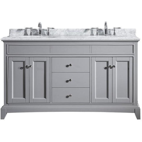 "Eviva Elite Stamford® 60"" Gray Solid Wood Double Bathroom Vanity Set - EVVN709-60GR - Bath Vanity Plus"