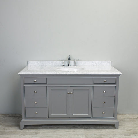 "Eviva Elite Stamford® 60"" Gray Solid Wood Single Bathroom Vanity Set - EVVN709-60GR-SS - Bath Vanity Plus"