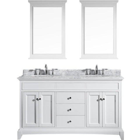 "Eviva Elite Stamford® 60"" White Solid Wood Double Bathroom Vanity Set - EVVN709-60WH - Bath Vanity Plus"