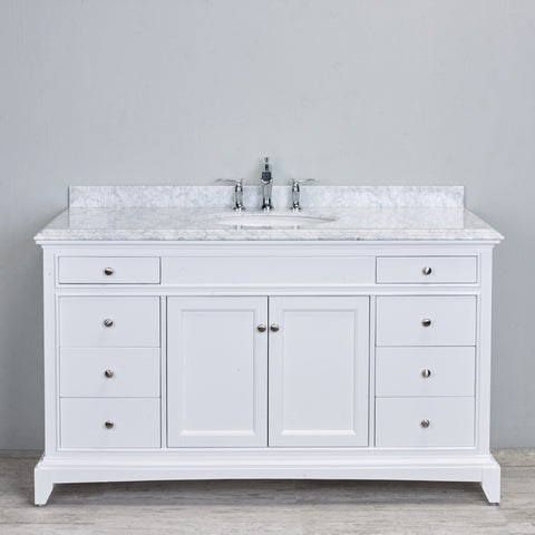 "Eviva Elite Stamford® 60"" White Solid Wood Single Bathroom Vanity Set - EVVN709-60WH-SS - Bath Vanity Plus"