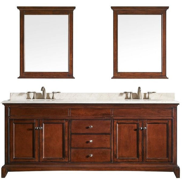 "Eviva Elite Stamford® 72"" Brown Solid Wood Double Bathroom Vanity Set - EVVN709-72TK - Bath Vanity Plus"