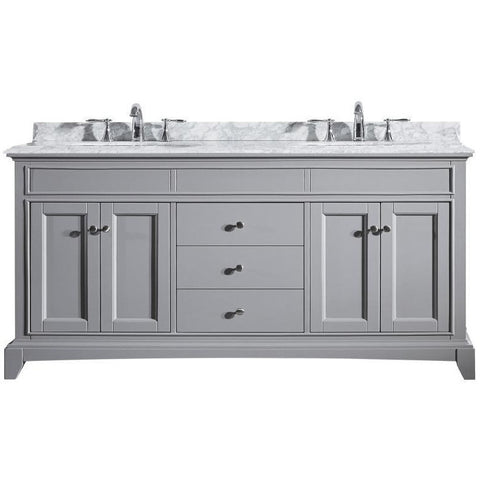 "Eviva Elite Stamford® 72"" Gray Solid Wood Double Bathroom Vanity Set - EVVN709-72GR - Bath Vanity Plus"