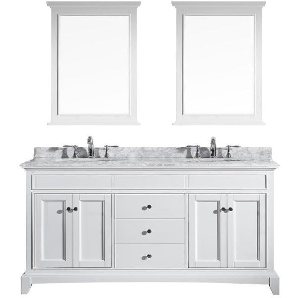 "Eviva Elite Stamford® 72"" White Solid Wood Double Bathroom Vanity Set - EVVN709-72WH - Bath Vanity Plus"