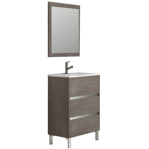 "Eviva Escorpio® 32"" Medium Oak Modern Bathroom Vanity Set - EVVN534-32MOK - Bath Vanity Plus"