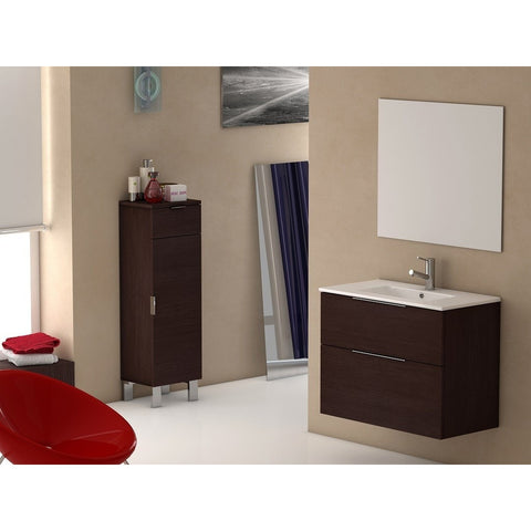 "Eviva Galsaky 28"" Wenge Wall-Mount Modern Bathroom Vanity Set - EVVN523-28WG - Bath Vanity Plus"