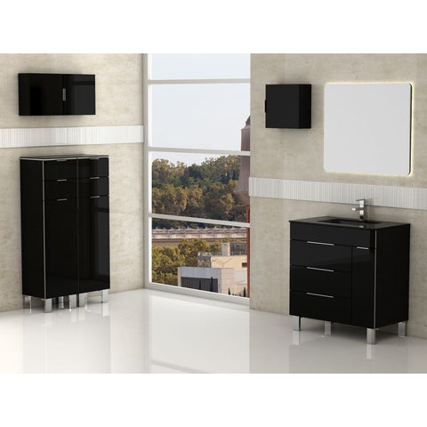 "Eviva Geminis® 28"" Black Modern Bathroom Vanity Set - EVVN530-28BL - Bath Vanity Plus"