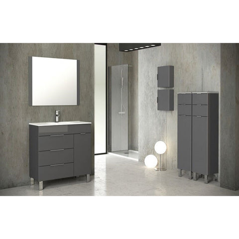 "Eviva Geminis® 28"" Gray Modern Bathroom Vanity Set - EVVN530-28GR - Bath Vanity Plus"