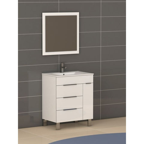 "Eviva Geminis® 28"" White Modern Bathroom Vanity Set - EVVN530-28WH - Bath Vanity Plus"