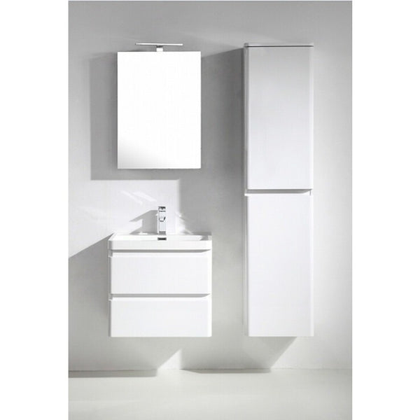 "Eviva Glazzy® 24"" White Wall-Mount Modern Bathroom Vanity Set - EVVN600-24WH-WM - Bath Vanity Plus"