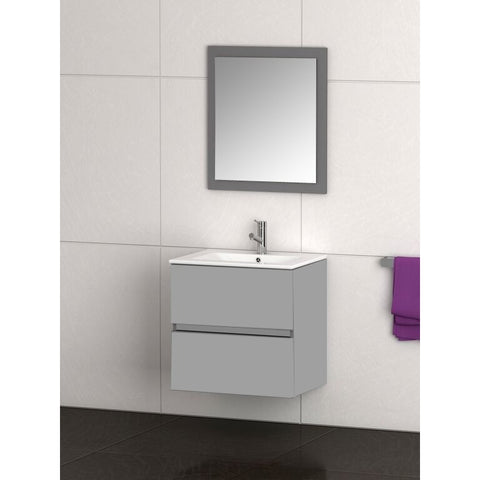 "Eviva Ikaro® 24"" Gray Wall-Mount Modern Bathroom Vanity Set - EVVN572-24GR - Bath Vanity Plus"