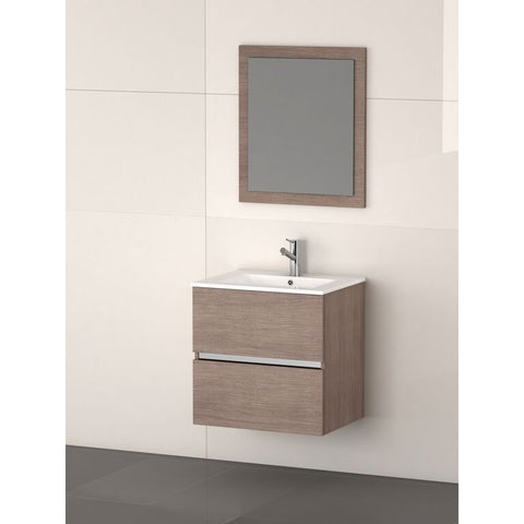 "Eviva Ikaro® 24"" Medium Oak Wall-Mount Modern Bathroom Vanity Set - EVVN572-24MOK - Bath Vanity Plus"
