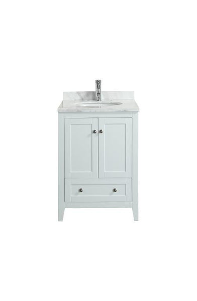 "Eviva Lime® 24"" White Single Sink Bathroom Vanity Set - EVVN07-24WH-MRB - Bath Vanity Plus"