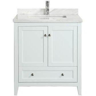 "Eviva Lime® 30"" White Single Sink Bathroom Vanity Set - EVVN07-30WH-MRB - Bath Vanity Plus"