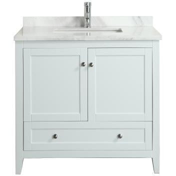 "Eviva Lime® 36"" White Single Sink Bathroom Vanity Set - EVVN07-36WH-MRB - Bath Vanity Plus"