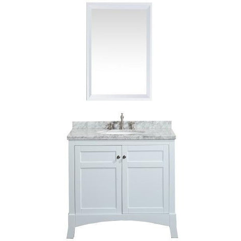 "Eviva New York 36"" White Single Sink Bathroom Vanity Set - EVVN514-36WH - Bath Vanity Plus"