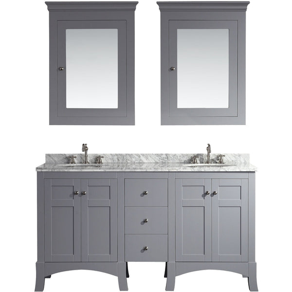 "Eviva New York 60"" Gray Double Sink Bathroom Vanity Set - EVVN514-60GR - Bath Vanity Plus"