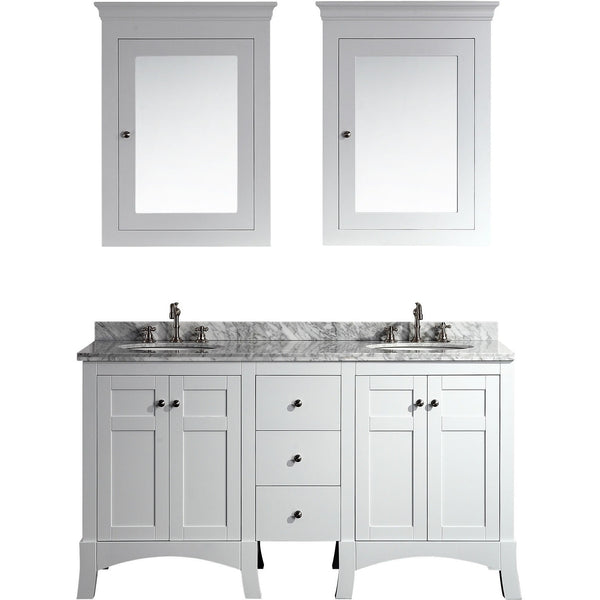 "Eviva New York 60"" White Double Sink Bathroom Vanity Set - EVVN514-60WH - Bath Vanity Plus"