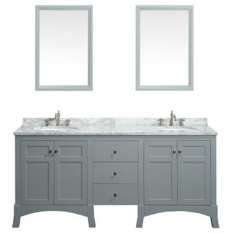 "Eviva New York 72"" Gray Double Sink Bathroom Vanity Set - EVVN514-72GR - Bath Vanity Plus"