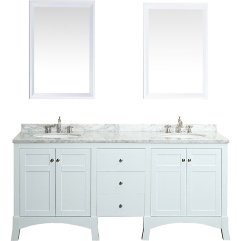 "Eviva New York 72"" White Double Sink Bathroom Vanity Set - EVVN514-72WH - Bath Vanity Plus"