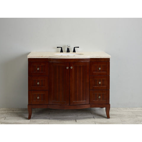 "Eviva Odessa Zinc 48"" Dark Teak Single Bathroom Vanity Set - EVVN717C-50BR - Bath Vanity Plus"