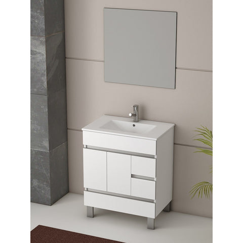 "Eviva Piscis® 32"" White Single Sink Bathroom Vanity Set - EVVN536-32WH - Bath Vanity Plus"