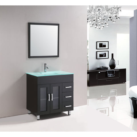 "Eviva Shore 30"" Espresso Single Sink Bathroom Vanity Set - EVVN103-2-30ES - Bath Vanity Plus"