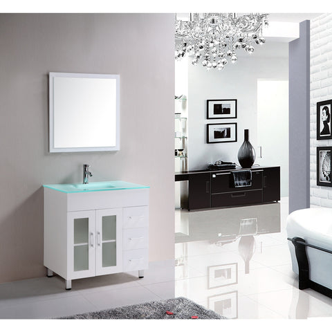 "Eviva Shore 30"" White Single Sink Bathroom Vanity Set - EVVN103-2-30WH - Bath Vanity Plus"