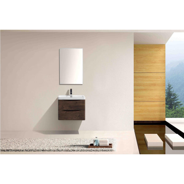 "Eviva Smile® 24"" Rosewood Wall-Mount Modern Bathroom Vanity Set - EVVN600-24RSWD-WM - Bath Vanity Plus"