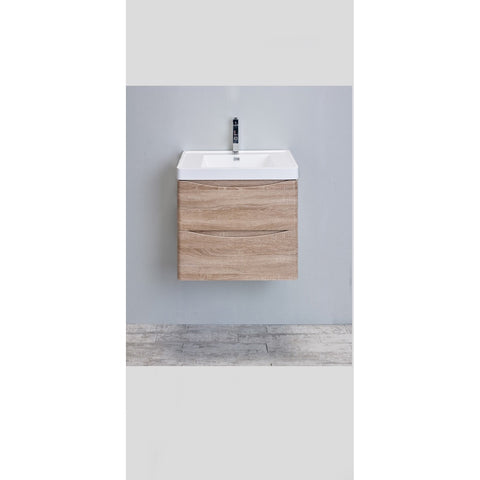 "Eviva Smile® 24"" White Oak Wall-Mount Modern Bathroom Vanity Set - EVVN600-24WHOK-WM - Bath Vanity Plus"