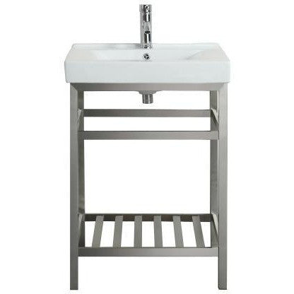 "Eviva Stone® 24"" Stainless Steel Bathroom Vanity Set - EVVN08-24SS - Bath Vanity Plus"