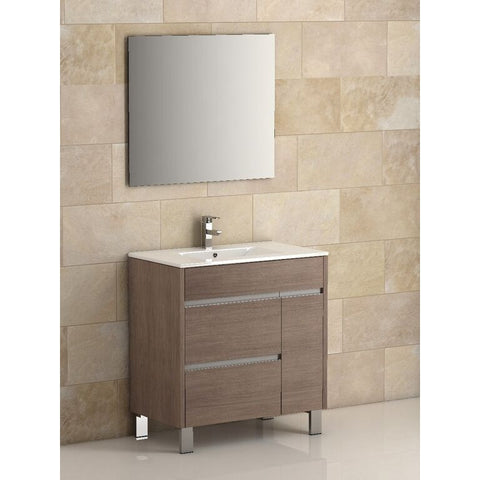"Eviva Tauro® 32"" Medium Oak Modern Bathroom Vanity Set - EVVN535-32MOK - Bath Vanity Plus"