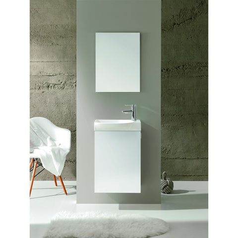 "Eviva Tiny 18"" White Wall-Mount Bathroom Vanity Set - EVVN17-18WH-Action - Bath Vanity Plus"