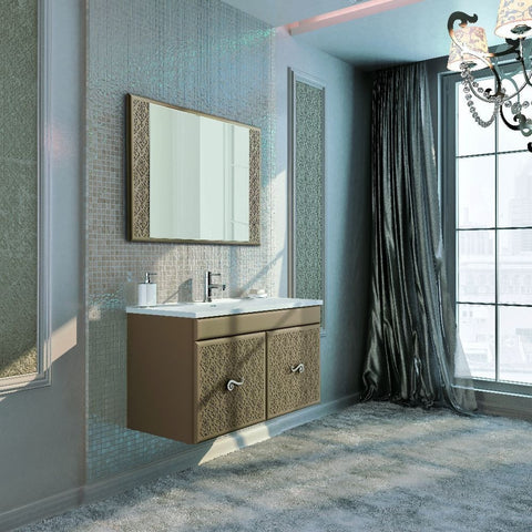 "Eviva Venice 32"" Brown Modern Wall-Mount Bathroom Vanity Set - EVVN908-32BR-Venice-2Door - Bath Vanity Plus"