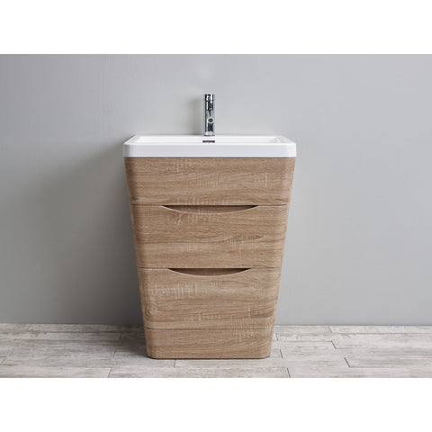 "Eviva Victoria 25"" White Oak Modern Bathroom Vanity Set - EVVN650-25WHOK - Bath Vanity Plus"