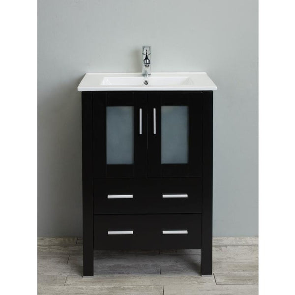 "Eviva Vines 24"" Espresso Single Sink Bathroom Vanity Set - EVVN213-24ES - Bath Vanity Plus"