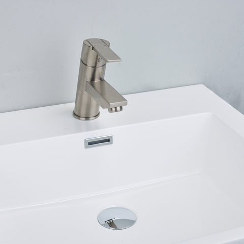 EVIVA Midtown® Brushed Nickel Single Hole/Handle Bathroom Sink Faucet - EVFT149BN - Bath Vanity Plus