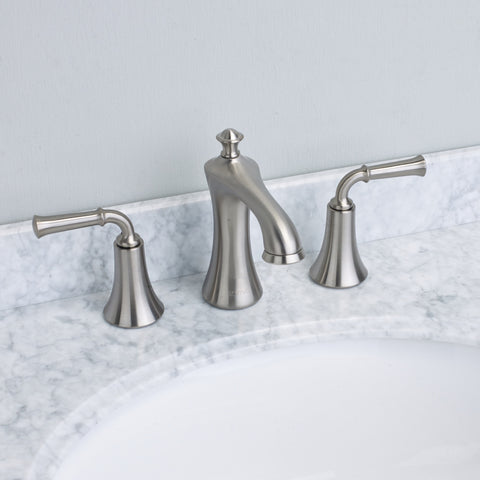 EVIVA Oceanbreeze® Brushed Nickel Widespread (2 Handles) Bathroom Faucet - EVFT280BN - Bath Vanity Plus