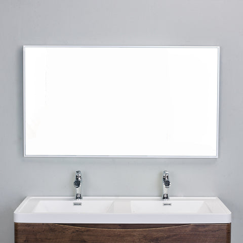 "Eviva Sax® 48"" Brushed Metal Frame Bathroom Wall Mirror - EVMR01-48X30-MetalFrame - Bath Vanity Plus"