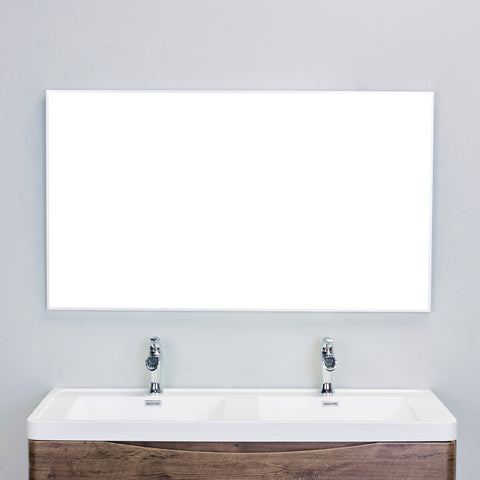 "Eviva Sax® 60"" Brushed Metal Frame Bathroom Wall Mirror - EVMR01-60X30-MetalFrame - Bath Vanity Plus"
