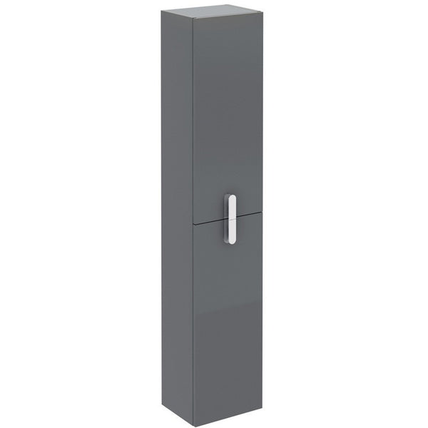 "Eviva Cali 12"" Gray Wall-Mount Modern Bathroom Linen Cabinet - EVCB32-12GR-Round - Bath Vanity Plus"