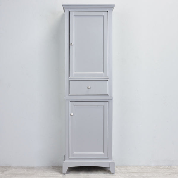 "Eviva Elite Stamford® 24"" Gray Solid Wood Linen Bathroom Cabinet - EVCB709-24GR - Bath Vanity Plus"