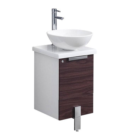"Fresca Adour 16"" Dark Walnut Modern Bathroom Cabinet"
