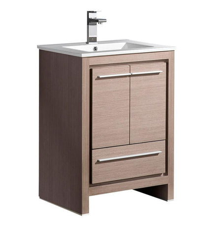 "Fresca Allier 24"" Gray Oak Modern Bathroom Cabinet w/ Sink"